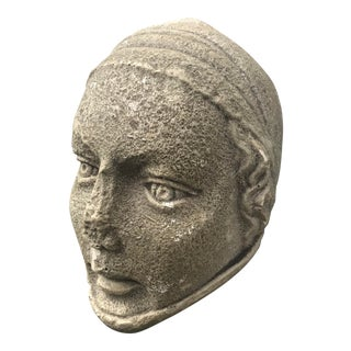 Plaster Hanging Face Sculpture For Sale