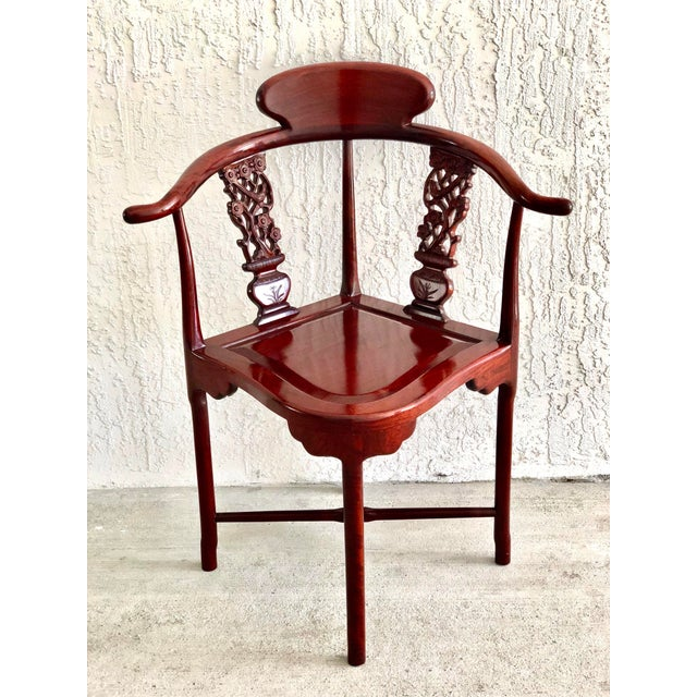 Hand Carved Rosewood Oriental Corner Chair For Sale - Image 13 of 13