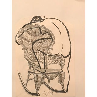 """Female Nude on a Wicker Chair"" Collage & Drawing by James Bone For Sale"