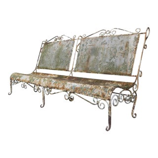 1900s French Large Iron Garden Bench For Sale