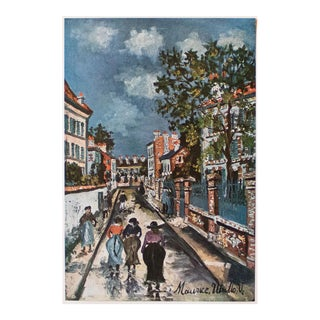 """1950s Maurice Utrillo """"Parisian Street Scene"""", First Edition Lithograph For Sale"""