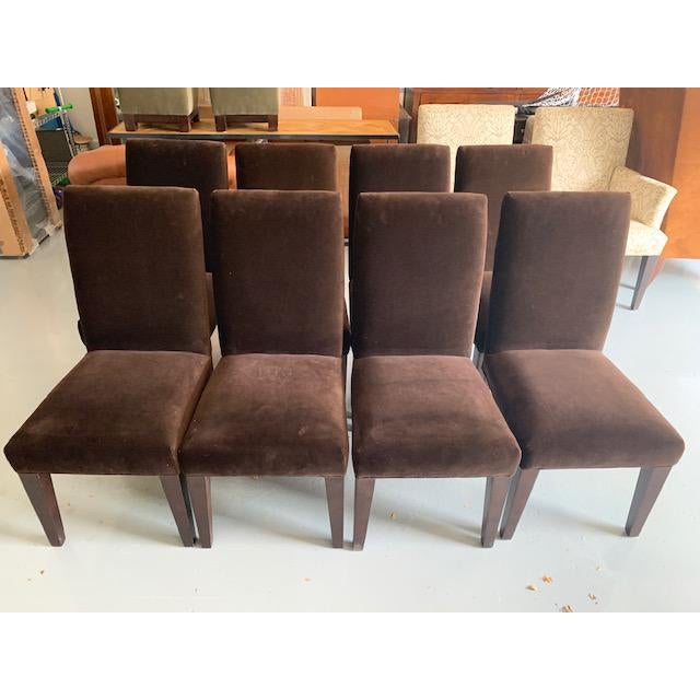 Fantastic, rich coffee brown velvet, lightly used set of 8 chairs from Mitchell Gold+Bob Williams. Ideally we would like...