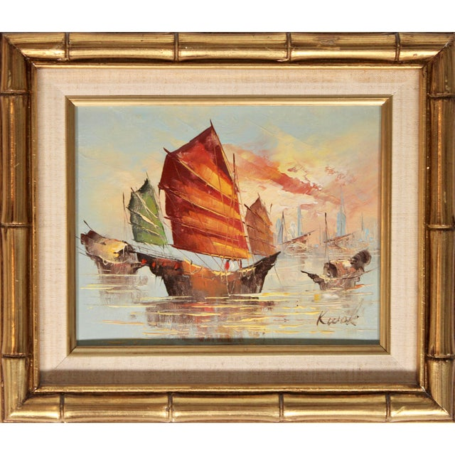 A stunning vintage oil painting of sailing ships at sea, circa 1950s. This is a superb oil painting with vibrant colors...