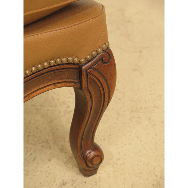 French Louis XV Style Leather Lounge Chair & Ottoman - A Pair - Image 4 of 13