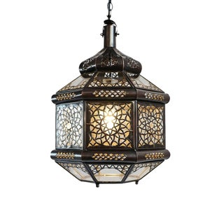 Metal Work & Clear Glass Moroccan Lantern For Sale