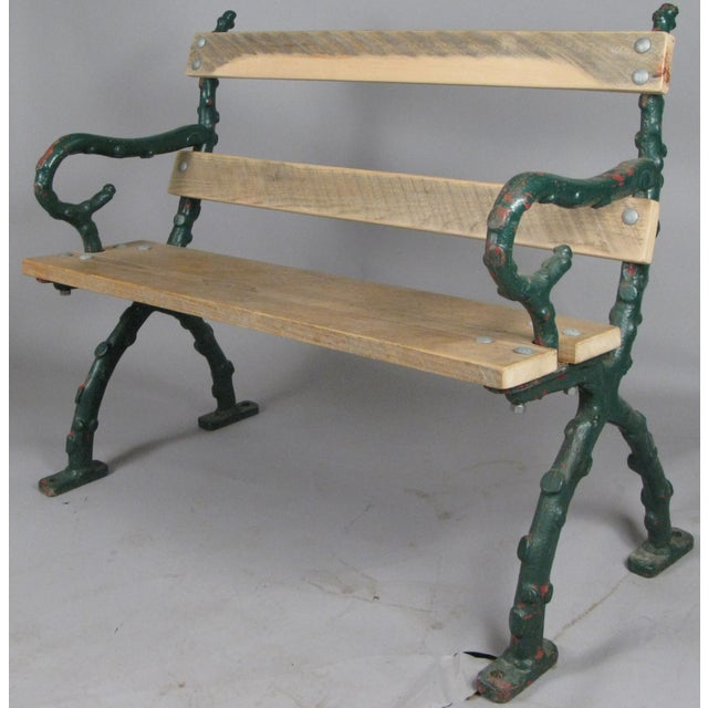 Metal Early 20th Century Antique Cast Iron English Garden Bench For Sale - Image 7 of 7