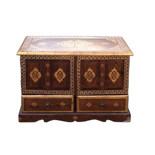 Chinese Brown Golden Graphic End Table Nightstand For Sale