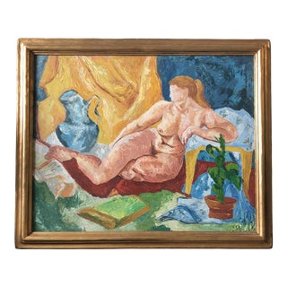 Original Vintage Modernist Female Nude Painting Gilt Modernist Wood Vintage Frame For Sale