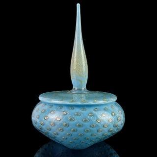 Alfredo Barbini Murano Blue Gold Spike Top Italian Art Glass Vanity Powder Box Preview