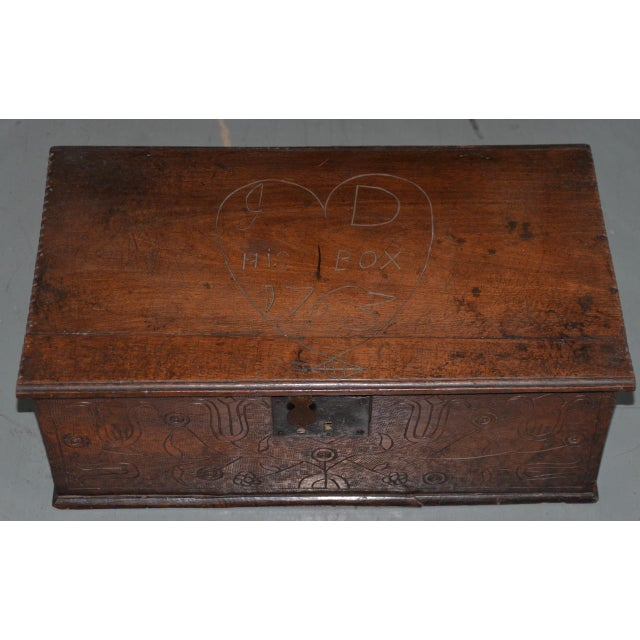 18th Century Carved Walnut Bible Box C.1763 For Sale - Image 11 of 11