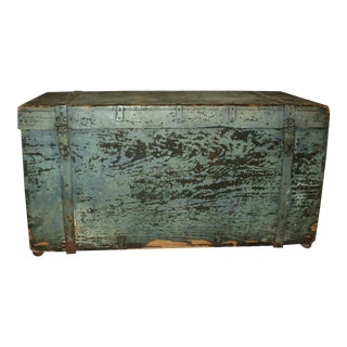 Antique Painted Wood & Metal Trunk