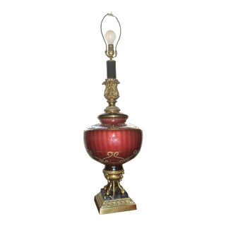 Vintage Hollywood Regency Brass & Red Ribbed Glass Table Lamp For Sale
