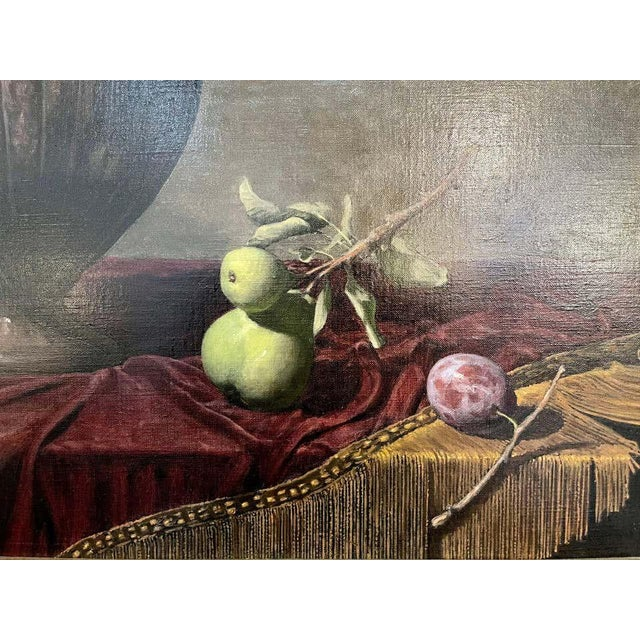 """Canvas Frank Arcuri, Still Life Oil on Canvas. Framed. """"Small Feast With Figs"""" 1999 For Sale - Image 7 of 13"""