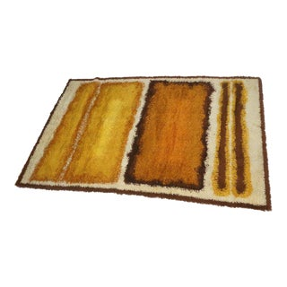 """Abstractions"" Wool Large Shag Rug Attributed to Concepts Design Studio"
