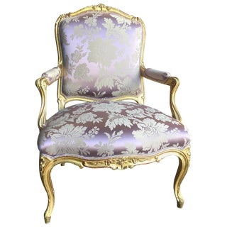 Fine 19th Century Louis XV Giltwood Armchair For Sale