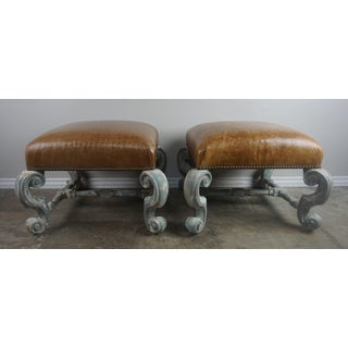 Pair of French Painted Benches With Leather Upholstery Preview