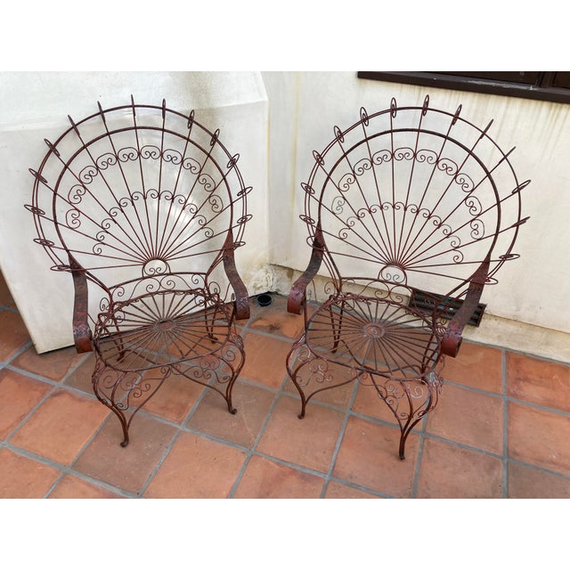 Vintage Mid-Century Salterini Style Peacock Chairs - a Pair For Sale - Image 12 of 12