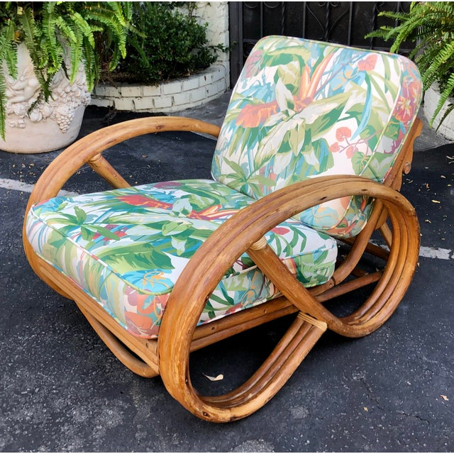 Wood 1950's Bent Rattan Adjustable Triple Banded Bamboo Lounge Chair For Sale - Image 7 of 7