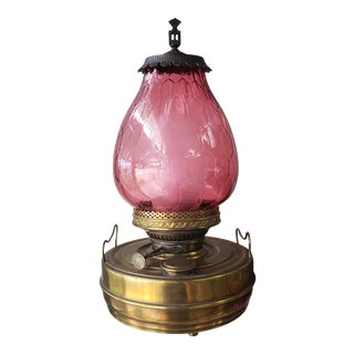Late 19th Century Victorian Sepulchre Belgique Brass Cranberry Glass Shade Converted Heating Oil Lamp For Sale