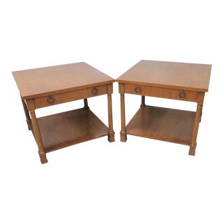 Henredon Neoclassical Fruitwood Side Tables - a Pair