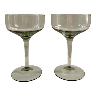 Mid 20th Century Smoked Glass Coupe Glasses - a Pair For Sale