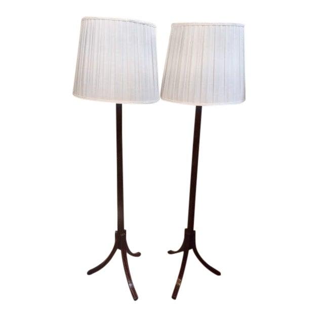 Macassar Ebony Floor Lamps - a Pair For Sale