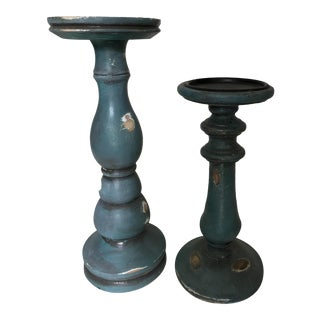 Blue Distressed Wooden Candle Holders - A Pair For Sale