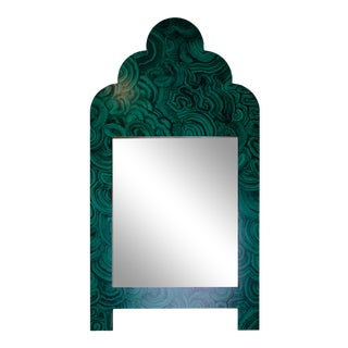 Hand Painted Green Malachite Wall Mirror For Sale