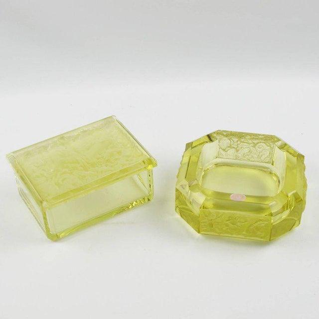 Bohemian Art Deco Vaseline Czech Glass Ashtray & Box - Image 3 of 11