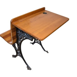 Early 20th Century Antique Restored Primitive Child's School Desk Iron Base & Fold Up Seat For Sale