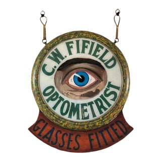 Antique Reverse Painted Optometrist Trade Sign For Sale