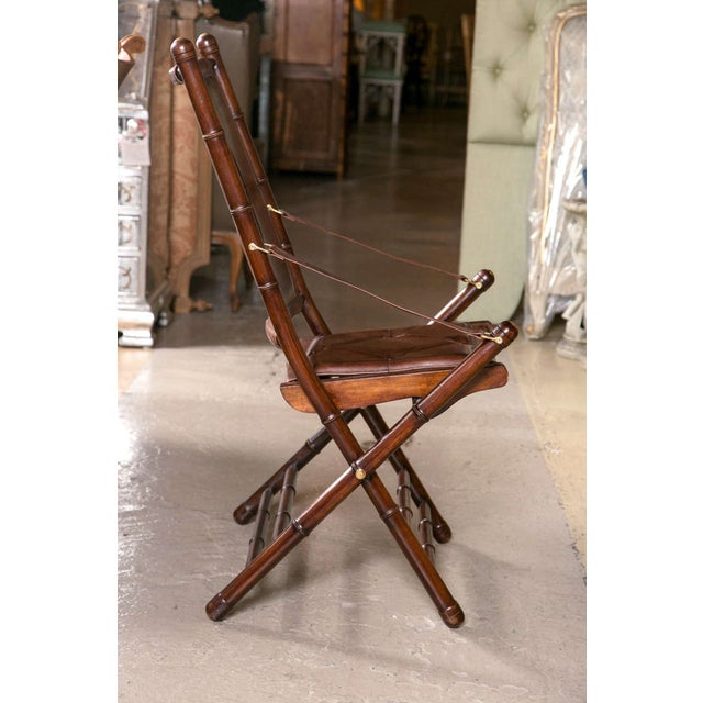 Leather Bamboo-Style Folding Chair - 20 Available For Sale In New York - Image 6 of 9