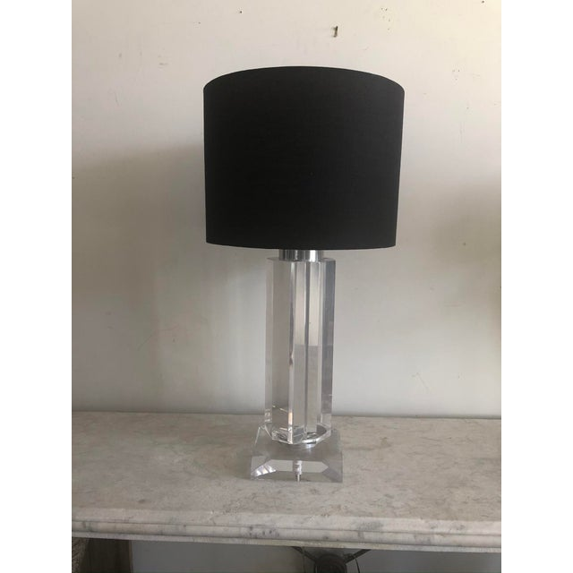 Mid-Century Lucite Polygonal Lamp with Black Shade For Sale - Image 13 of 13