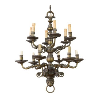 French Bronze Two-Tiered Chandelier with Lion Motif