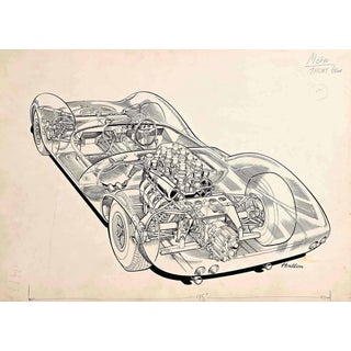 "Original ""Cutaway"" Drawing of the Lotus 30 Racing Car by Brian Hatton For Sale"