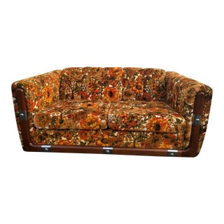 Mid Century Orange and Brown Floral Loveseat For Sale