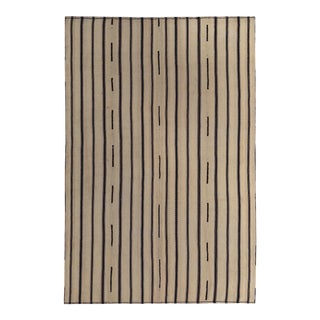Modern Turkish Kilim Rug With Black & Brown Pencil Stripes in a Beige Field For Sale