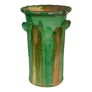 19th Century French Green Glazed Terracotta Pot For Sale