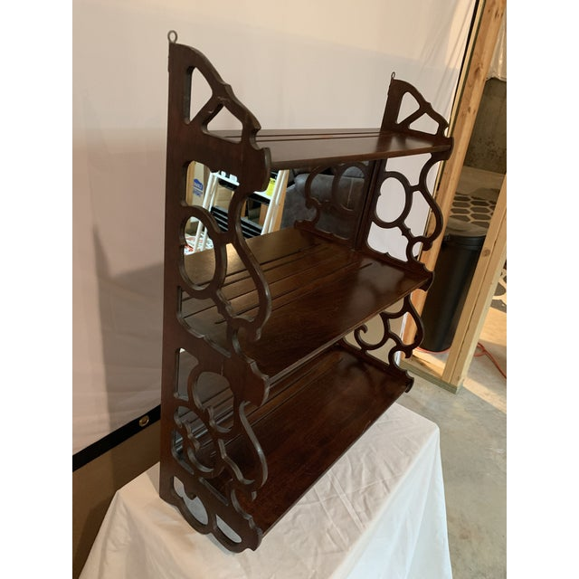 Antique Chippendale Carved Mahogany 3 Tier Wall Hanging Display Rack For Sale In Lexington, KY - Image 6 of 12