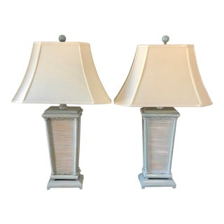 Natural Light Blue Gray Rattan Table Lamps- a Pair For Sale