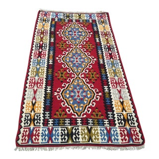 "Vintage Kilim Rug- 3'7"" X 6'6""-Turkish Rug-Burgundy Blue Yellow Ivory Medallion Design-Colorful-Flatweave-Authentic-Bohemian-Midcentury Modern Decor For Sale"