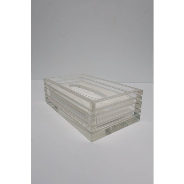 Modern Lucite Tissue Box in the Style of Charles Hollis Jones, Ca. 1970s For Sale In New York - Image 6 of 11