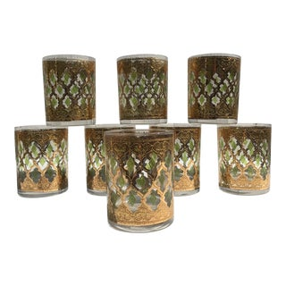 Mid-Century Culver Valencia Pattern Club Glasses - Set of 8