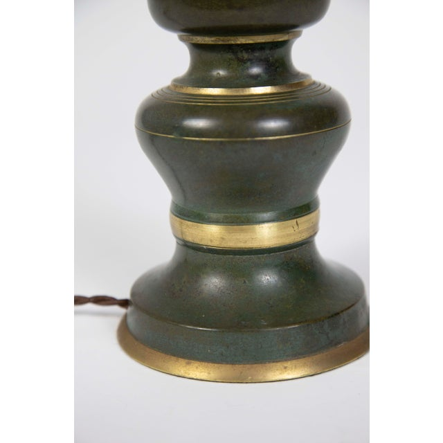 Brass Asian Style Green & Gold Painted Brass Candlestick Lamp For Sale - Image 7 of 9