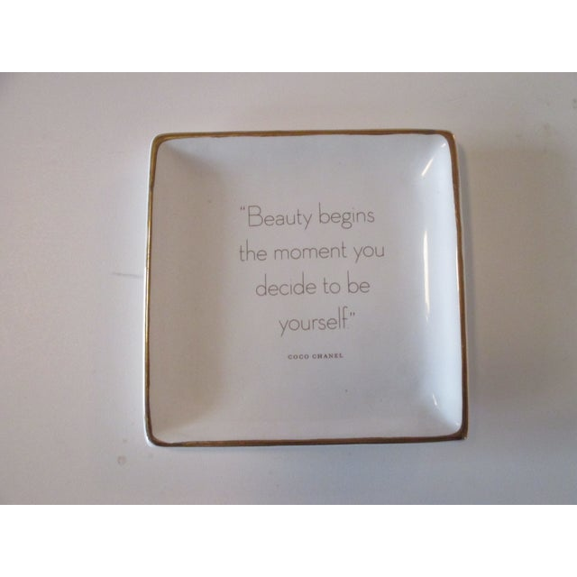Late 20th Century Trinket Tray Dish With a Quote From Coco Chanel For Sale - Image 5 of 5