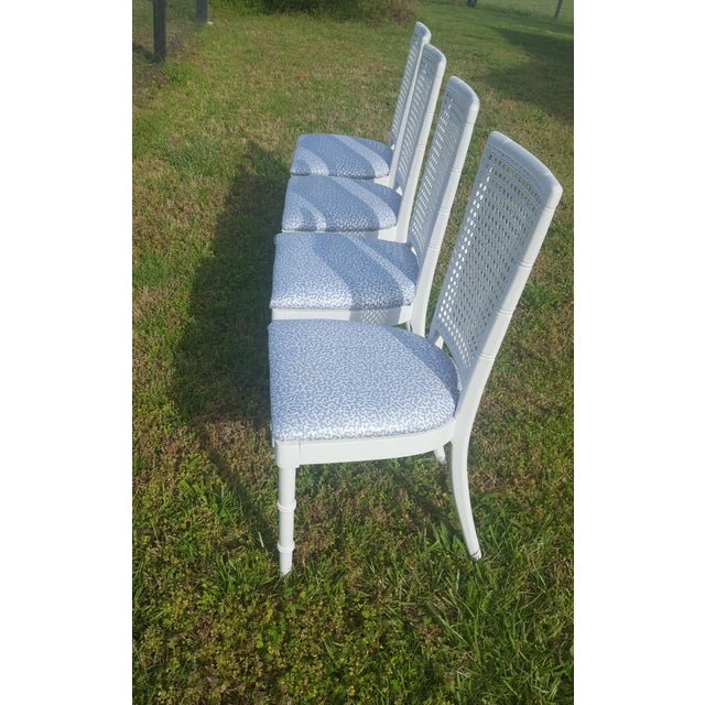 Caning Set of 4- White Palm Beach Regency Faux Bamboo Caned Dining Chairs For Sale - Image 7 of 13
