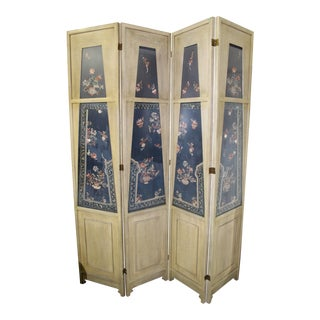 Traditional Custom Made 4 Panel Screen With Antique Chinese Lady's Silk Court Robe