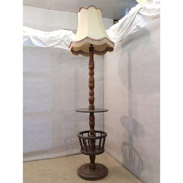 Early 20th Century Solid French Floor Lamp With Attached Table For Sale - Image 9 of 9