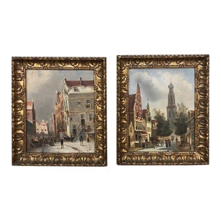 Pair Antique Framed Oil Paintings on Board For Sale