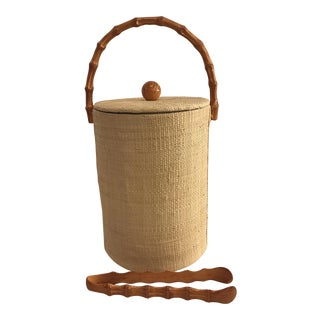 Vintage Grass Cloth & Bamboo Ice Bucket & Tongs